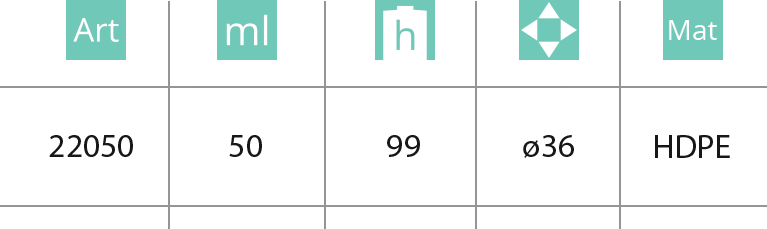 Plastična boca sa sigurnosnim tamper proof zatvaračem 50ml - tabela