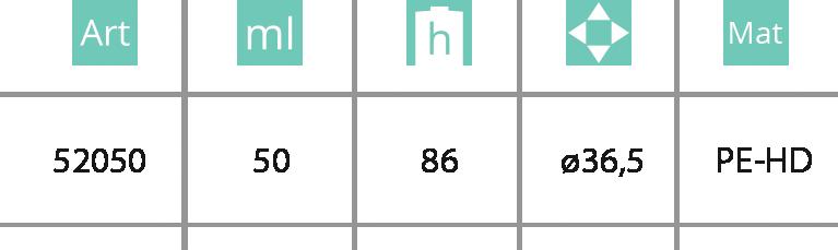 Kozmetička boca sa klik-klak zatvaračem 50ml - tabela