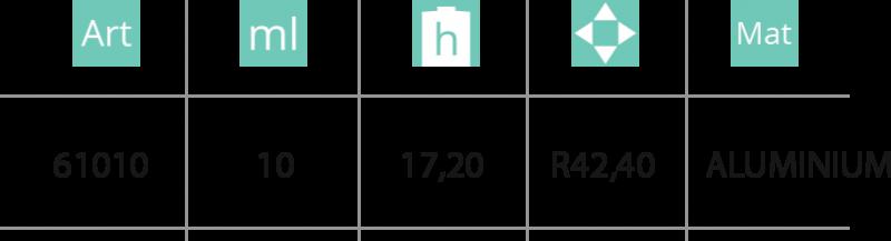 Aluminijumska kutija 10ml - tabela