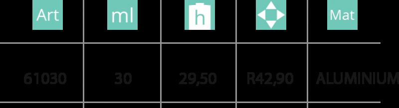 Aluminijumska kutija 30ml - tabela