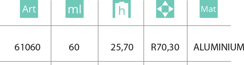 Aluminijumska kutija 60ml - tabela
