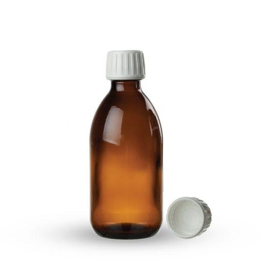 Farmaceutska staklena boca sa pripadajućom kapaljkom i zatvaračem 125ml